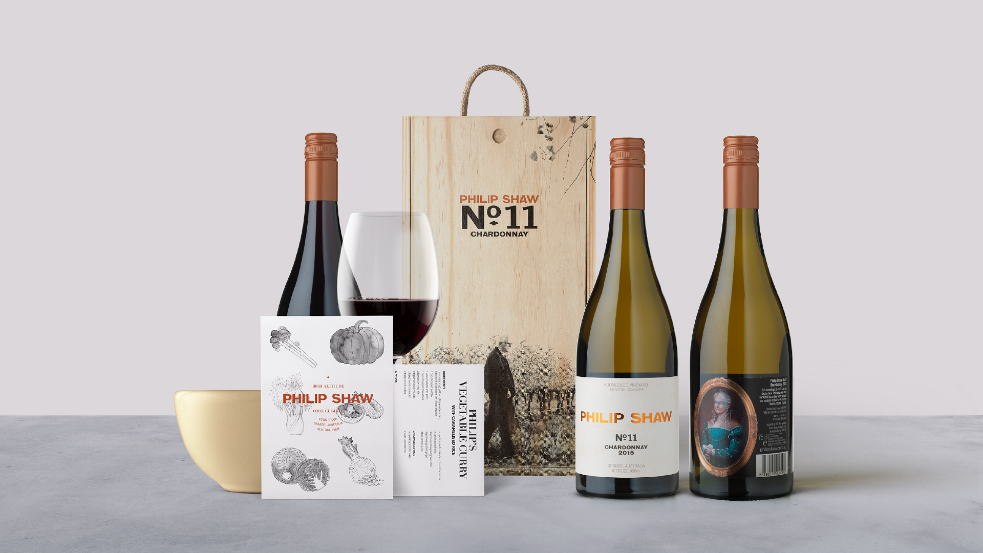 A selection of branded products from Philip Shaw Wines designed by Helium Design Melbourne including bottles, packages, tasting notes and recipe cards.