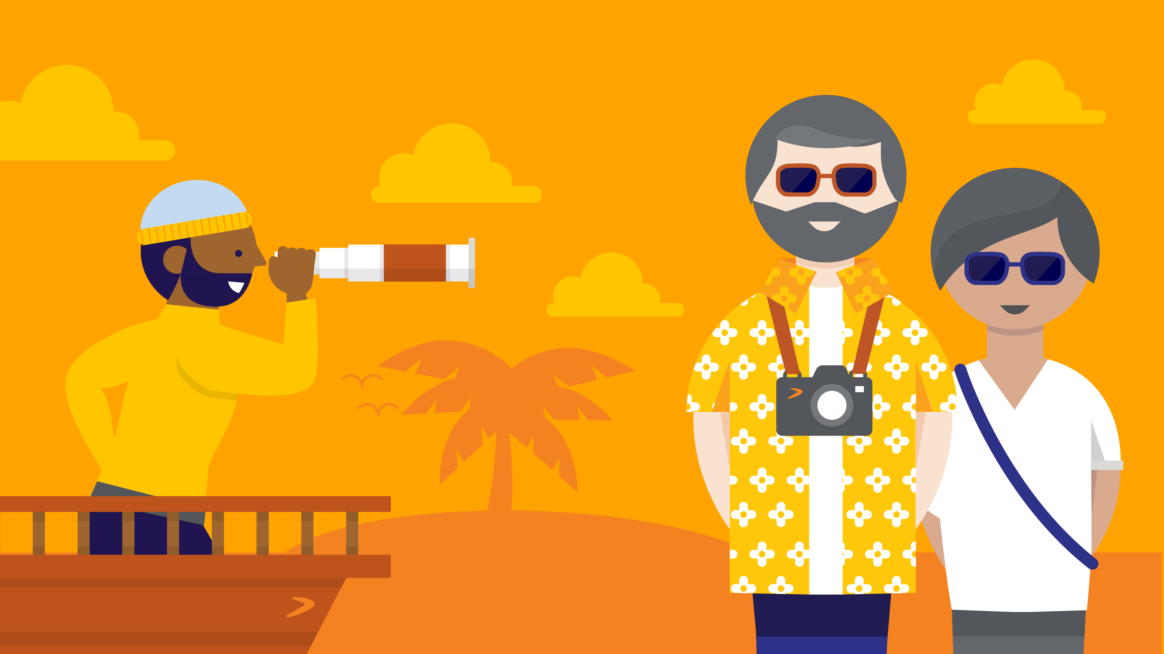 AustralianSuper Illustration. An illustration of two stages of members journey with their superannuation. The 'planner' is depicted as a navigator on a ship. The retiree is depicted as couple holidaying in resort wear. The illustration is in warm golden tones.