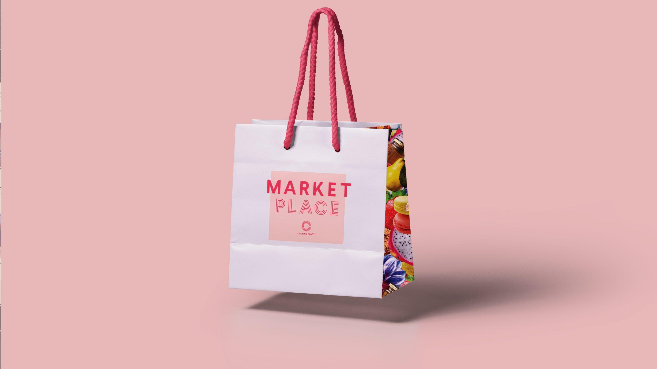Collins Place Market Place tote bag designed by Helium Design Melbourne.