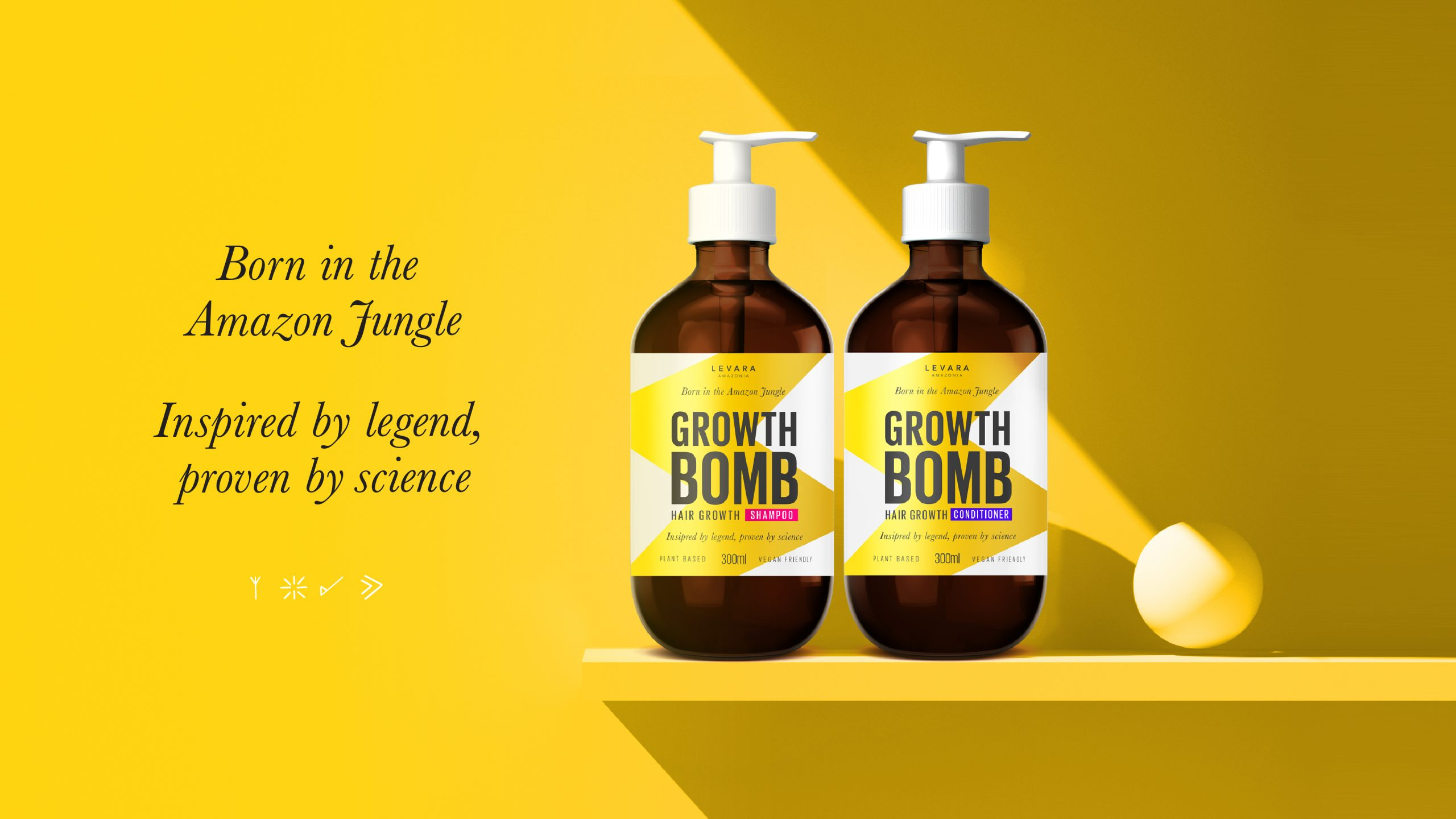 Growth Bomb Har Growth Shampoo Packaging sitting on a shelf in a yellow room setting. Branding and pack design by Helium Design Melbourne.
