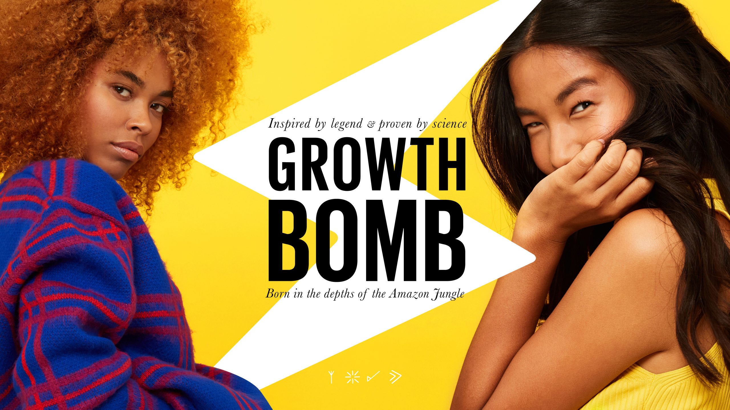 Inspired by legend, proven by science. Introducing Growth Bomb: the secret weapon for hair growth, born in the Amazon. Growth Bomb logotype featuring a lighting bolt designed by Helium Design Melbourne.