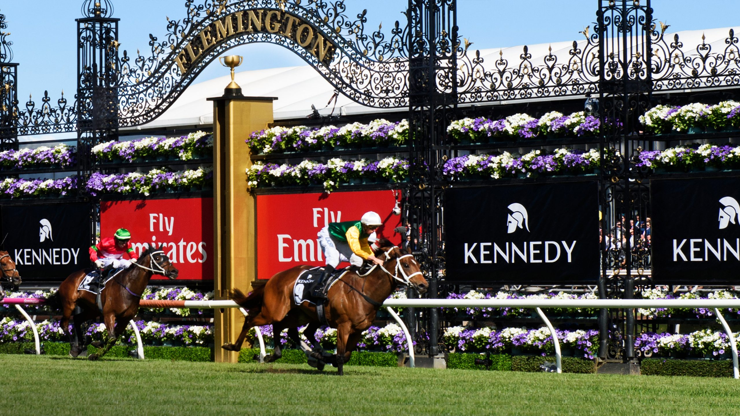 Horses pass the cup in the Kennedy Mile part of the Flemington Race Week. Field branding shows Kennedy logos designed by Helium Design Melbourne.