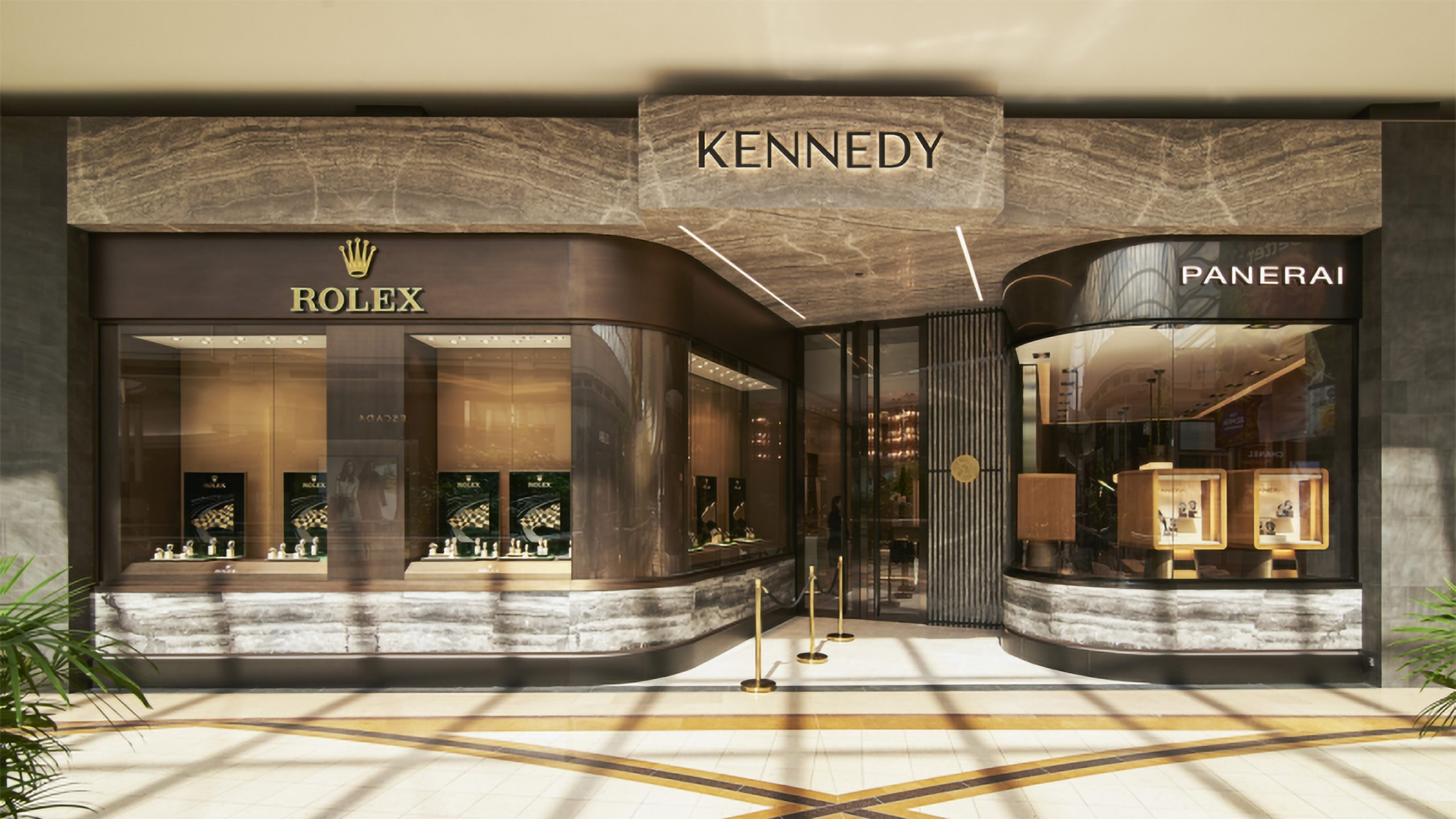 Kennedy Retail storefront featuring Rolex, Panerai and the Kennedy logotype designed by Helium Design Melbourne.
