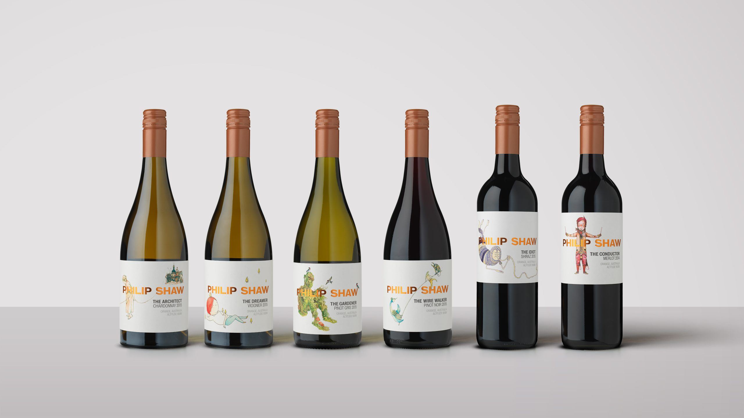 Philip Shaw Wines: The Characters Series. Wine bottles featuring uniquely named character illustrations such as the Idiot, the conductor, the wire walker, the architect. Labels designed by Helium Design Melbourne.